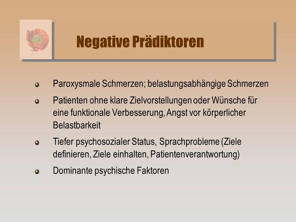 Paroxysmale Schmerzen; belastungsabhängige Schmerzen Patienten ohne klare Zielvorstellungen oder Wünsche für eine funktionale Verbesserung, Angst vor
