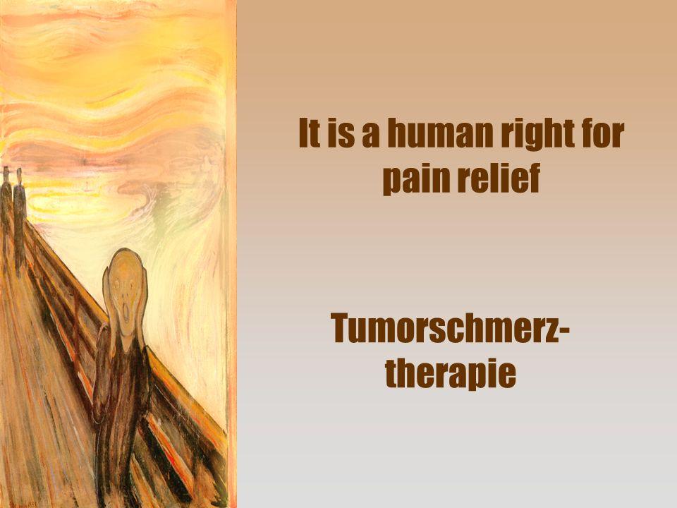 Tumorschmerztherapie 80 – 90% mit konventioneller Schmerztherapie gut früh potente Opioide ohne Dosisgrenze Konsequent Durchbruchmedikation einsetzten: 10% der Tagesdosis maximal stündlich Durchbruchmedikation: Morphin Tropfen, Oxynorm Tropfen, Palladon Tabletten, Actiq Lolli 10% mit erweiterter Schmerztherapie PCA, Ketalar, Schmerzkatheter