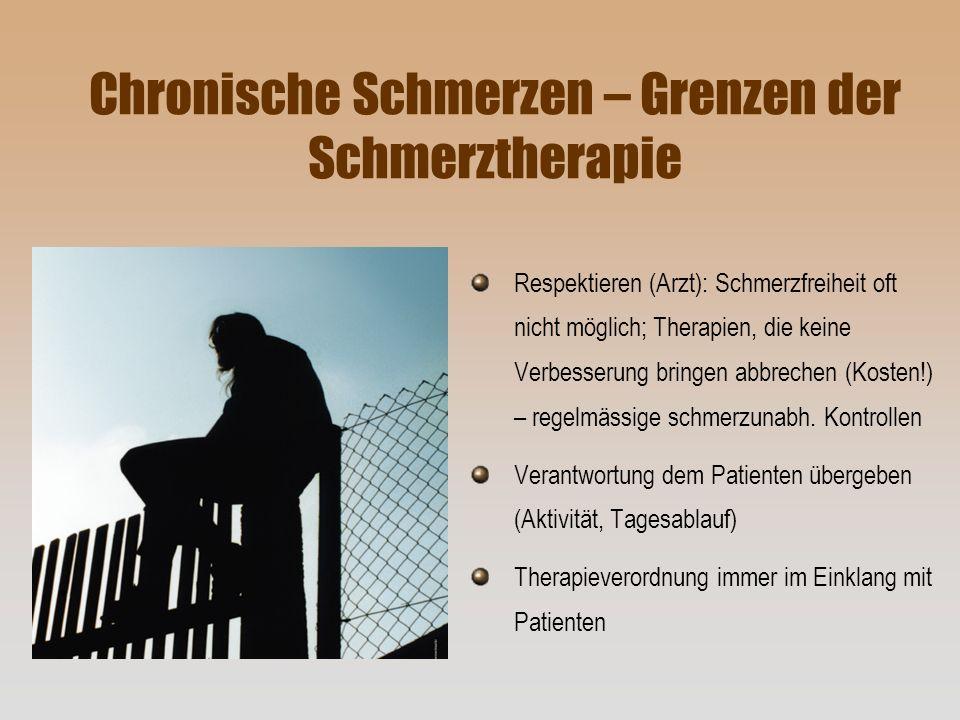 Chronische Schmerzen – Grenzen der Schmerztherapie Respektieren (Arzt): Schmerzfreiheit oft nicht möglich; Therapien, die keine Verbesserung bringen a