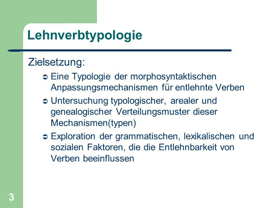3 Lehnverbtypologie Zielsetzung: Eine Typologie der morphosyntaktischen Anpassungsmechanismen für entlehnte Verben Untersuchung typologischer, arealer und genealogischer Verteilungsmuster dieser Mechanismen(typen) Exploration der grammatischen, lexikalischen und sozialen Faktoren, die die Entlehnbarkeit von Verben beeinflussen