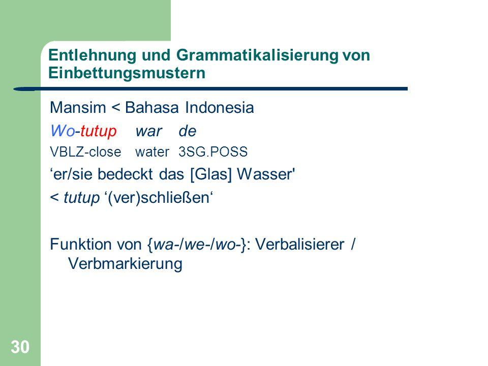 30 Entlehnung und Grammatikalisierung von Einbettungsmustern Mansim < Bahasa Indonesia Wo-tutup war de VBLZ-close water 3SG.POSS er/sie bedeckt das [Glas] Wasser < tutup (ver)schließen Funktion von {wa-/we-/wo-}: Verbalisierer / Verbmarkierung