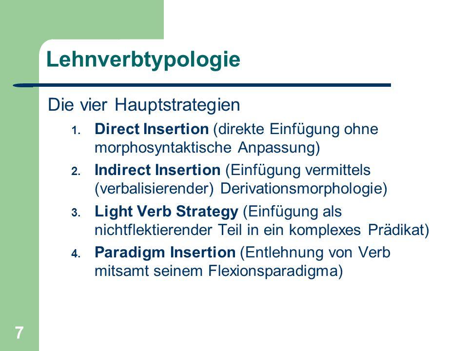 7 Lehnverbtypologie Die vier Hauptstrategien 1.