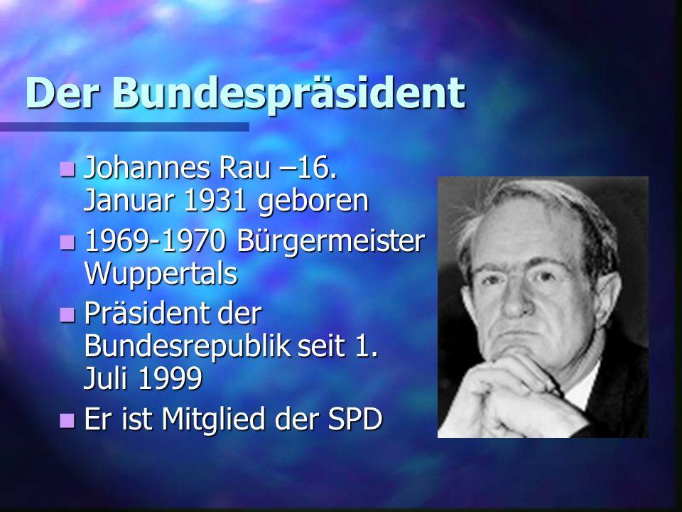 Der Bundespräsident Johannes Rau –16. Januar 1931 geboren Johannes Rau –16. Januar 1931 geboren 1969-1970 Bürgermeister Wuppertals 1969-1970 Bürgermei