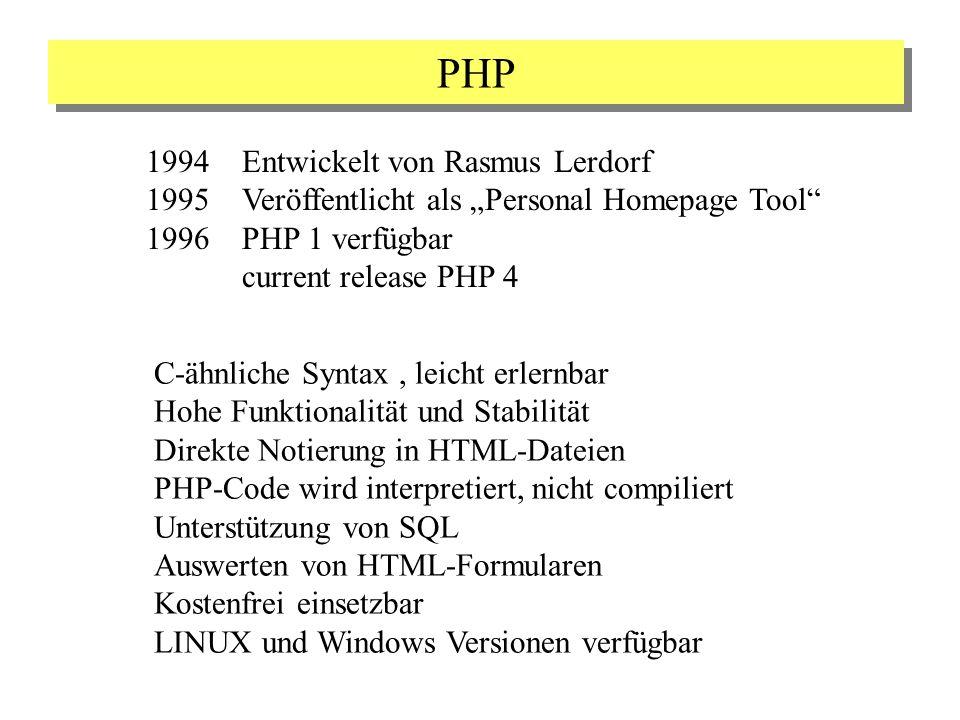PHP 1994Entwickelt von Rasmus Lerdorf 1995Veröffentlicht als Personal Homepage Tool 1996PHP 1 verfügbar current release PHP 4 C-ähnliche Syntax, leich