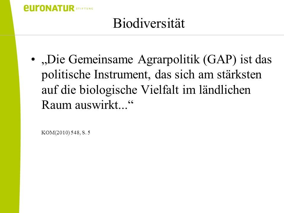 Biodiversität Die Gemeinsame Agrarpolitik (GAP) ist das politische Instrument, das sich am stärksten auf die biologische Vielfalt im ländlichen Raum auswirkt...