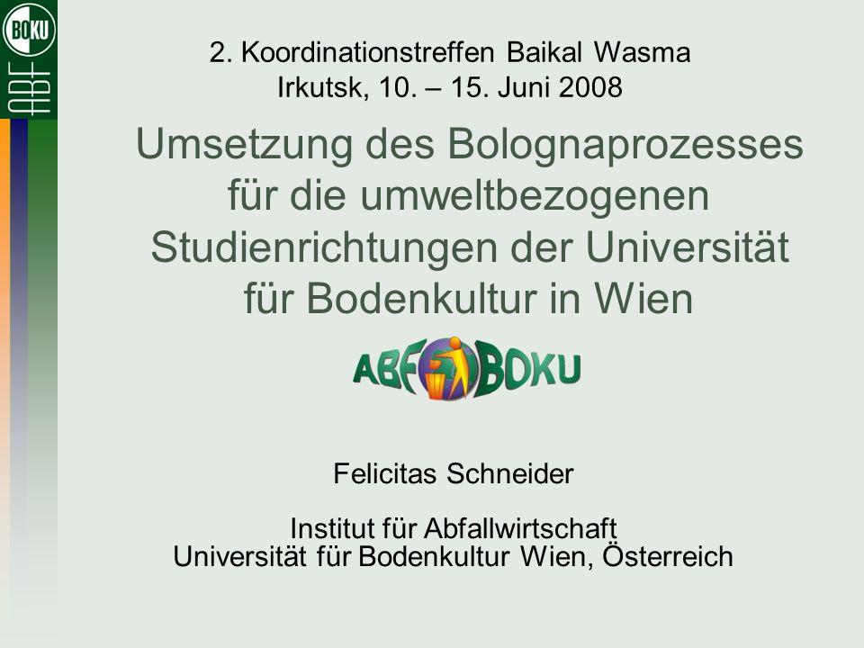 Umsetzung des Bolognaprozesses für die umweltbezogenen Studienrichtungen der Universität für Bodenkultur in Wien Felicitas Schneider Institut für Abfa