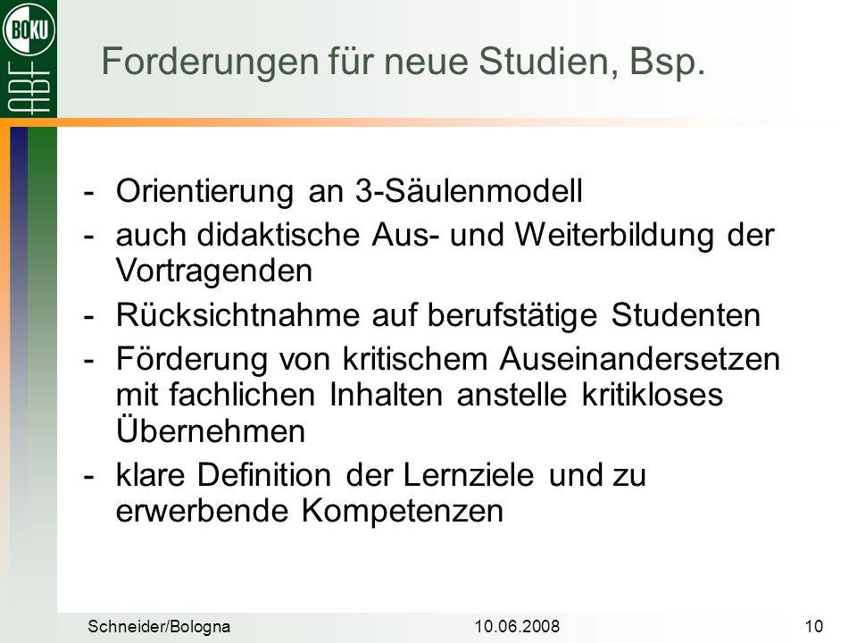 Schneider/Bologna10.06.200810 Orientierung an 3-Säulenmodell auch didaktische Aus- und Weiterbildung der Vortragenden Rücksichtnahme auf berufstäti