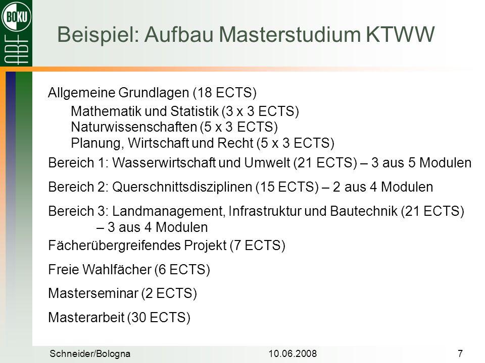 Schneider/Bologna10.06.20087 Beispiel: Aufbau Masterstudium KTWW Allgemeine Grundlagen (18 ECTS) Bereich 1: Wasserwirtschaft und Umwelt (21 ECTS) – 3