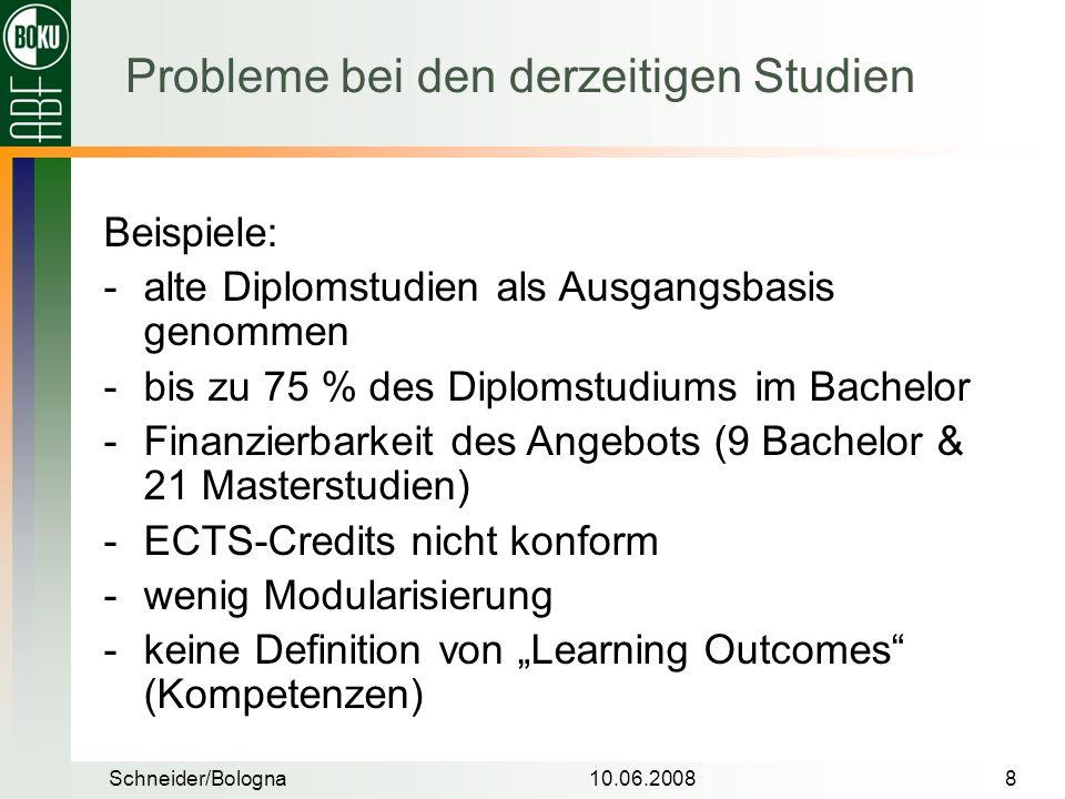 Schneider/Bologna10.06.20088 Beispiele: alte Diplomstudien als Ausgangsbasis genommen bis zu 75 % des Diplomstudiums im Bachelor Finanzierbarkeit d