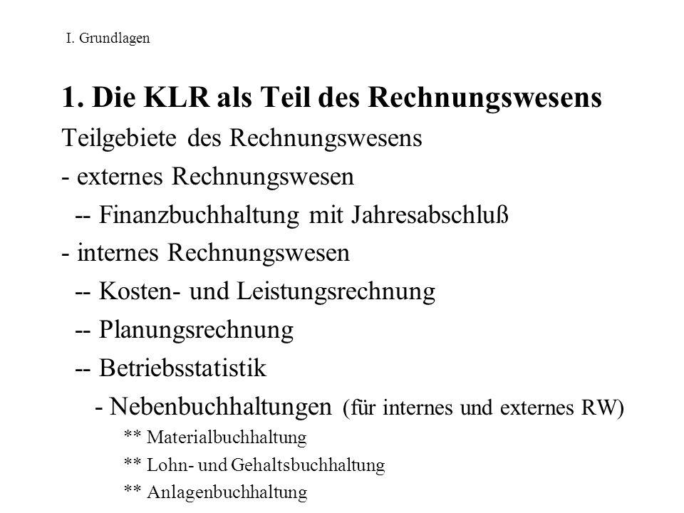 I. Grundlagen 1. Die KLR als Teil des Rechnungswesens Teilgebiete des Rechnungswesens - externes Rechnungswesen -- Finanzbuchhaltung mit Jahresabschlu