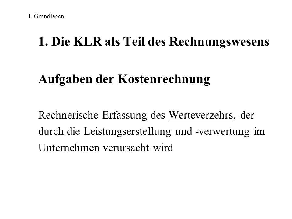 I. Grundlagen 1. Die KLR als Teil des Rechnungswesens Aufgaben der Kostenrechnung Rechnerische Erfassung des Werteverzehrs, der durch die Leistungsers