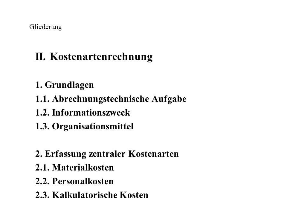 Gliederung III.Kostenstellenrechnung 1. Grundlagen 1.1.