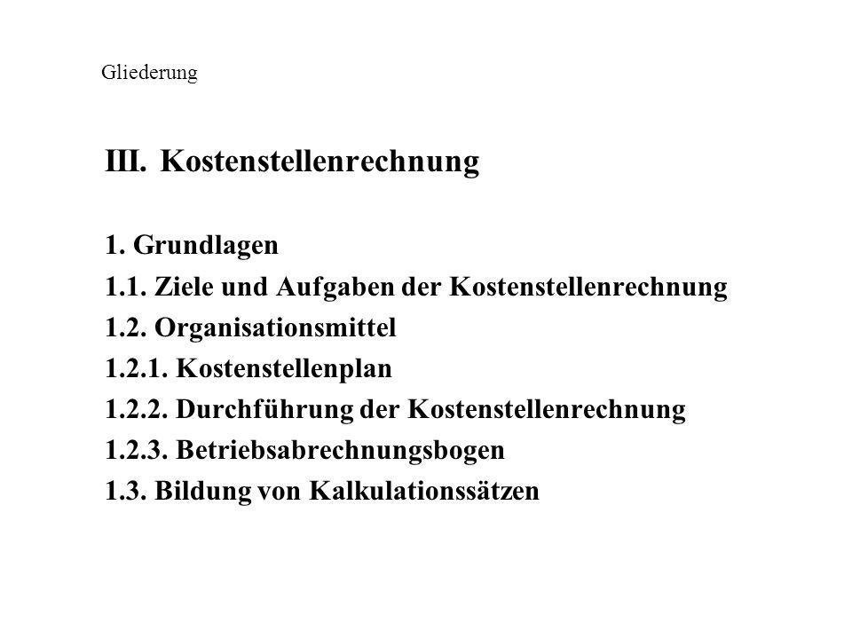 Gliederung III. Kostenstellenrechnung 1. Grundlagen 1.1. Ziele und Aufgaben der Kostenstellenrechnung 1.2. Organisationsmittel 1.2.1. Kostenstellenpla