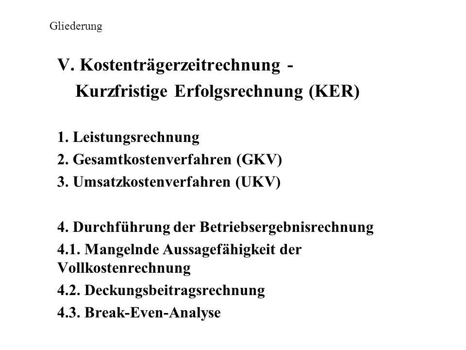 Gliederung V. Kostenträgerzeitrechnung - Kurzfristige Erfolgsrechnung (KER) 1. Leistungsrechnung 2. Gesamtkostenverfahren (GKV) 3. Umsatzkostenverfahr