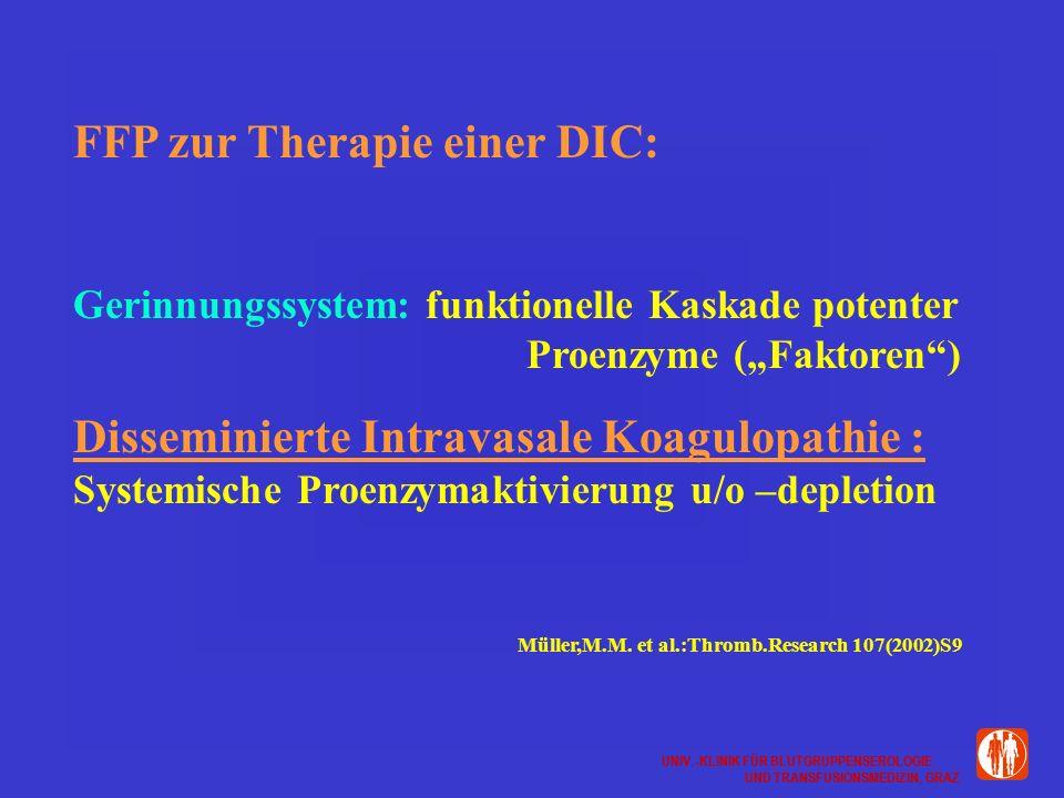 UNIV.-KLINIK FÜR BLUTGRUPPENSEROLOGIE UND TRANSFUSIONSMEDIZIN, GRAZ UNIV.-KLINIK FÜR BLUTGRUPPENSEROLOGIE UND TRANSFUSIONSMEDIZIN, GRAZ FFP zur Therapie einer DIC: Gerinnungssystem: funktionelle Kaskade potenter Proenzyme (Faktoren) Disseminierte Intravasale Koagulopathie : Systemische Proenzymaktivierung u/o –depletion Müller,M.M.