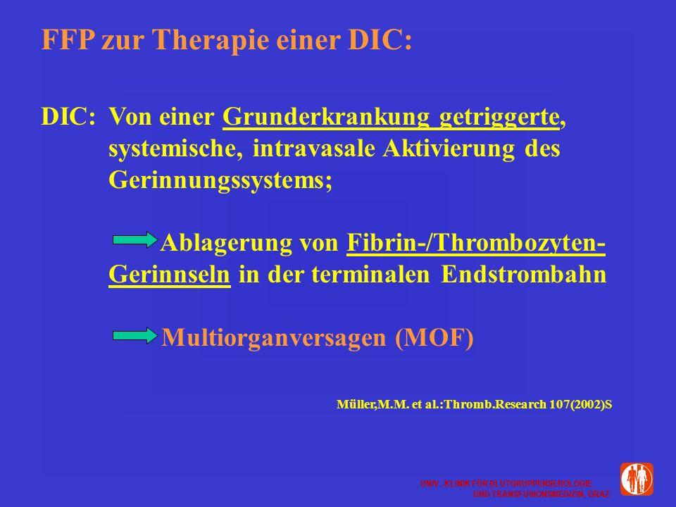 UNIV.-KLINIK FÜR BLUTGRUPPENSEROLOGIE UND TRANSFUSIONSMEDIZIN, GRAZ UNIV.-KLINIK FÜR BLUTGRUPPENSEROLOGIE UND TRANSFUSIONSMEDIZIN, GRAZ FFP zur Therapie einer DIC: DIC:Von einer Grunderkrankung getriggerte, systemische, intravasale Aktivierung des Gerinnungssystems; Ablagerung von Fibrin-/Thrombozyten- Gerinnseln in der terminalen Endstrombahn Multiorganversagen (MOF) Müller,M.M.