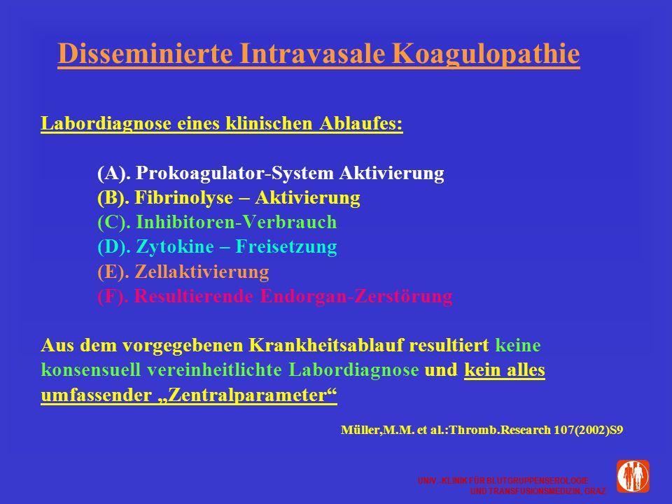 UNIV.-KLINIK FÜR BLUTGRUPPENSEROLOGIE UND TRANSFUSIONSMEDIZIN, GRAZ UNIV.-KLINIK FÜR BLUTGRUPPENSEROLOGIE UND TRANSFUSIONSMEDIZIN, GRAZ Disseminierte Intravasale Koagulopathie Labordiagnose eines klinischen Ablaufes: (A).