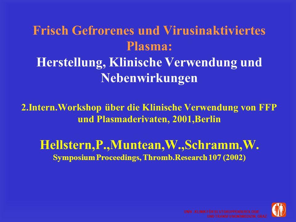 UNIV.-KLINIK FÜR BLUTGRUPPENSEROLOGIE UND TRANSFUSIONSMEDIZIN, GRAZ UNIV.-KLINIK FÜR BLUTGRUPPENSEROLOGIE UND TRANSFUSIONSMEDIZIN, GRAZ Frisch Gefrorenes und Virusinaktiviertes Plasma: Herstellung, Klinische Verwendung und Nebenwirkungen 2.Intern.Workshop über die Klinische Verwendung von FFP und Plasmaderivaten, 2001,Berlin Hellstern,P.,Muntean,W.,Schramm,W.
