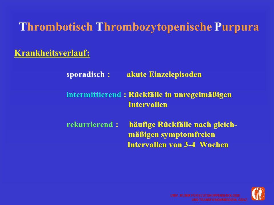 UNIV.-KLINIK FÜR BLUTGRUPPENSEROLOGIE UND TRANSFUSIONSMEDIZIN, GRAZ UNIV.-KLINIK FÜR BLUTGRUPPENSEROLOGIE UND TRANSFUSIONSMEDIZIN, GRAZ Thrombotisch Thrombozytopenische Purpura Krankheitsverlauf: sporadisch : akute Einzelepisoden intermittierend : Rückfälle in unregelmäßigen Intervallen rekurrierend : häufige Rückfälle nach gleich- mäßigen symptomfreien Intervallen von 3-4 Wochen
