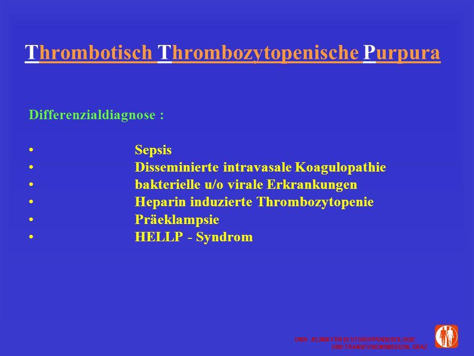 UNIV.-KLINIK FÜR BLUTGRUPPENSEROLOGIE UND TRANSFUSIONSMEDIZIN, GRAZ UNIV.-KLINIK FÜR BLUTGRUPPENSEROLOGIE UND TRANSFUSIONSMEDIZIN, GRAZ Thrombotisch Thrombozytopenische Purpura Differenzialdiagnose : Sepsis Disseminierte intravasale Koagulopathie bakterielle u/o virale Erkrankungen Heparin induzierte Thrombozytopenie Präeklampsie HELLP - Syndrom