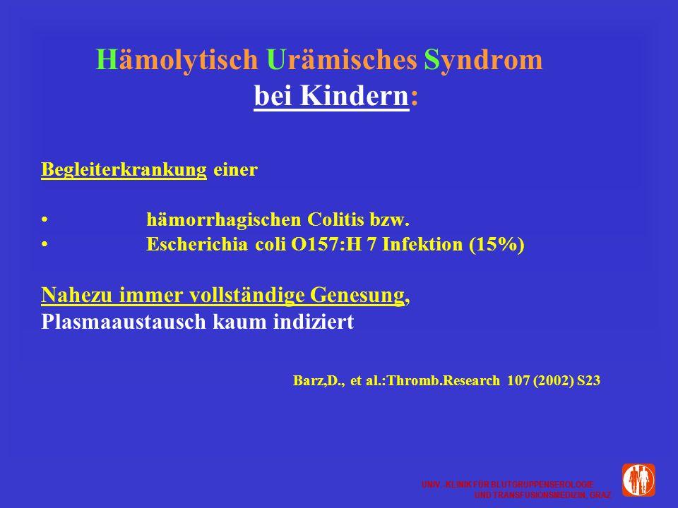 UNIV.-KLINIK FÜR BLUTGRUPPENSEROLOGIE UND TRANSFUSIONSMEDIZIN, GRAZ UNIV.-KLINIK FÜR BLUTGRUPPENSEROLOGIE UND TRANSFUSIONSMEDIZIN, GRAZ Hämolytisch Urämisches Syndrom bei Kindern: Begleiterkrankung einer hämorrhagischen Colitis bzw.