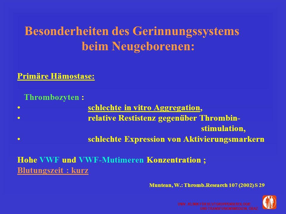 UNIV.-KLINIK FÜR BLUTGRUPPENSEROLOGIE UND TRANSFUSIONSMEDIZIN, GRAZ UNIV.-KLINIK FÜR BLUTGRUPPENSEROLOGIE UND TRANSFUSIONSMEDIZIN, GRAZ Besonderheiten des Gerinnungssystems beim Neugeborenen: Primäre Hämostase: Thrombozyten : schlechte in vitro Aggregation, relative Restistenz gegenüber Thrombin- stimulation, schlechte Expression von Aktivierungsmarkern Hohe VWF und VWF-Mutimeren Konzentration ; Blutungszeit : kurz Muntean, W.: Thromb.Research 107 (2002) S 29