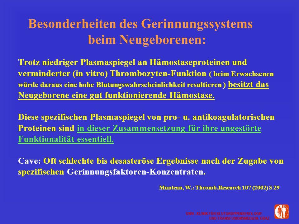 UNIV.-KLINIK FÜR BLUTGRUPPENSEROLOGIE UND TRANSFUSIONSMEDIZIN, GRAZ UNIV.-KLINIK FÜR BLUTGRUPPENSEROLOGIE UND TRANSFUSIONSMEDIZIN, GRAZ Besonderheiten des Gerinnungssystems beim Neugeborenen: Trotz niedriger Plasmaspiegel an Hämostaseproteinen und verminderter (in vitro) Thrombozyten-Funktion ( beim Erwachsenen würde daraus eine hohe Blutungswahrscheinlichkeit resultieren ) besitzt das Neugeborene eine gut funktionierende Hämostase.