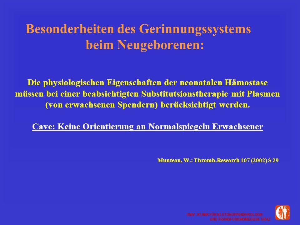 UNIV.-KLINIK FÜR BLUTGRUPPENSEROLOGIE UND TRANSFUSIONSMEDIZIN, GRAZ UNIV.-KLINIK FÜR BLUTGRUPPENSEROLOGIE UND TRANSFUSIONSMEDIZIN, GRAZ Besonderheiten des Gerinnungssystems beim Neugeborenen: Die physiologischen Eigenschaften der neonatalen Hämostase müssen bei einer beabsichtigten Substitutsionstherapie mit Plasmen (von erwachsenen Spendern) berücksichtigt werden.