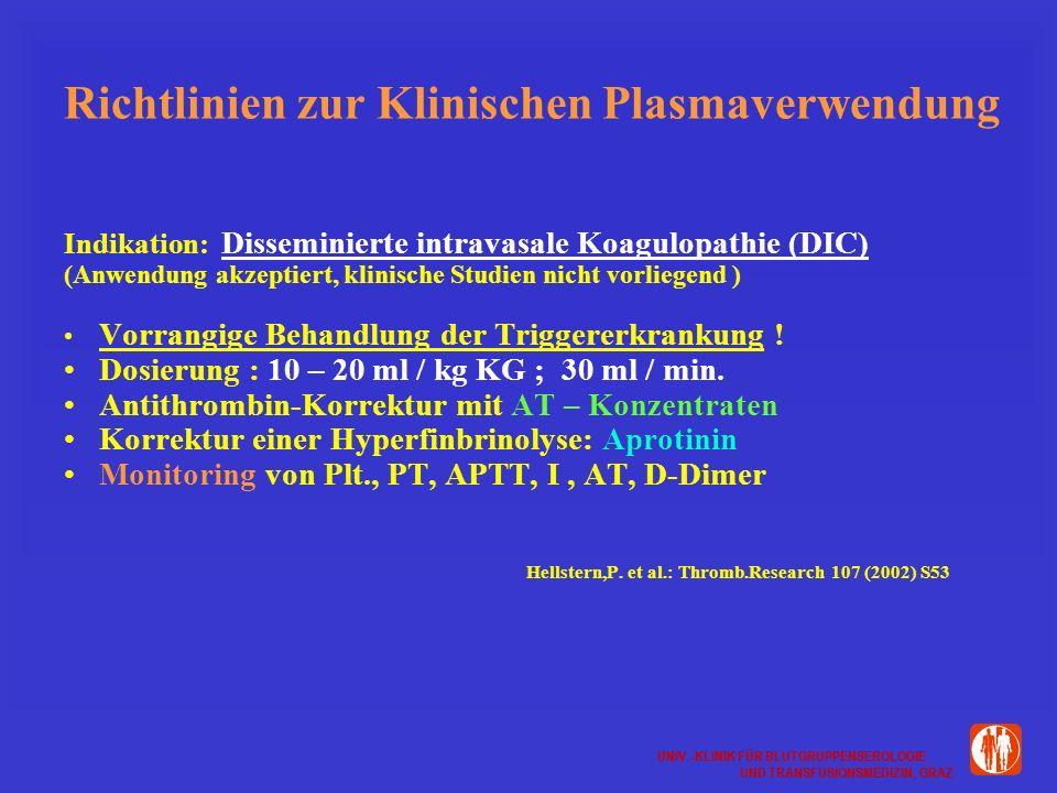 UNIV.-KLINIK FÜR BLUTGRUPPENSEROLOGIE UND TRANSFUSIONSMEDIZIN, GRAZ UNIV.-KLINIK FÜR BLUTGRUPPENSEROLOGIE UND TRANSFUSIONSMEDIZIN, GRAZ Richtlinien zur Klinischen Plasmaverwendung Indikation: Disseminierte intravasale Koagulopathie (DIC) (Anwendung akzeptiert, klinische Studien nicht vorliegend ) Vorrangige Behandlung der Triggererkrankung .