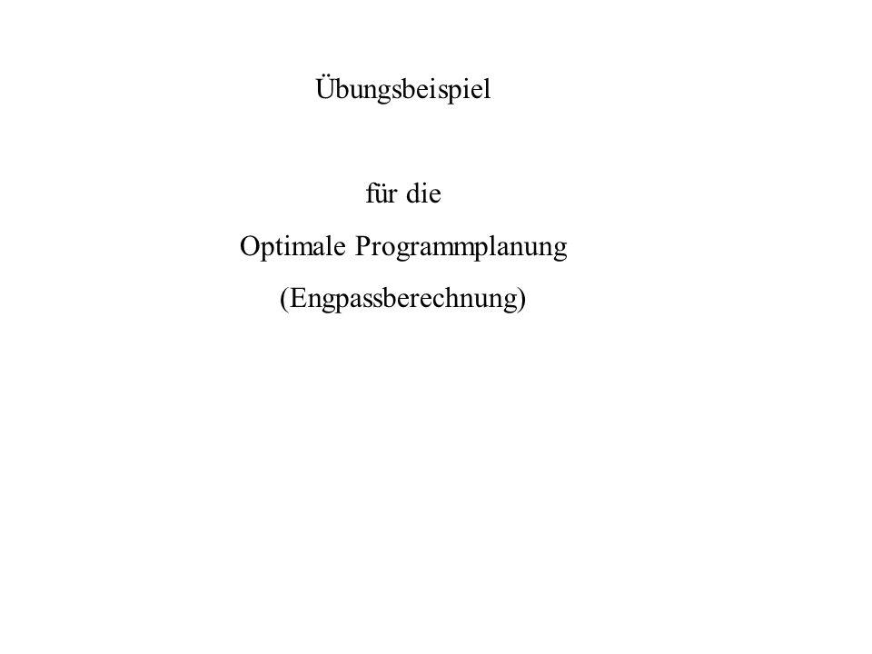 Übungsbeispiel für die Optimale Programmplanung (Engpassberechnung)