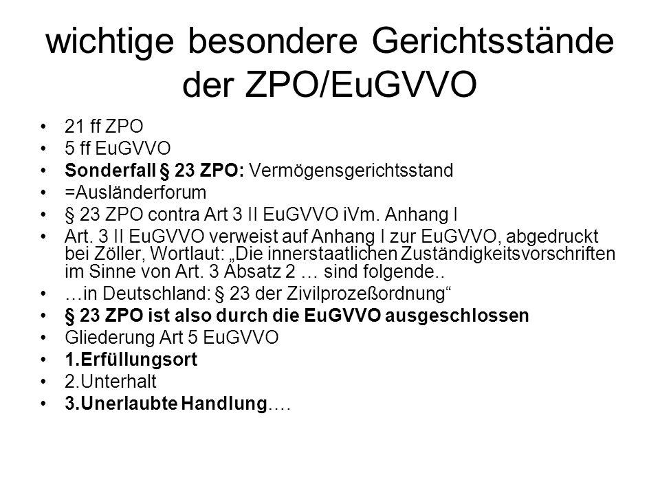 wichtige besondere Gerichtsstände der ZPO/EuGVVO 21 ff ZPO 5 ff EuGVVO Sonderfall § 23 ZPO: Vermögensgerichtsstand =Ausländerforum § 23 ZPO contra Art
