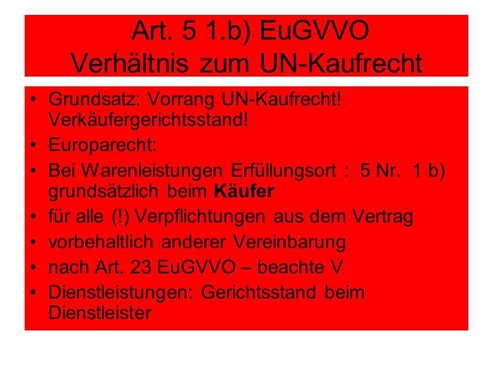 Art. 5 1.b) EuGVVO Verhältnis zum UN-Kaufrecht Grundsatz: Vorrang UN-Kaufrecht! Verkäufergerichtsstand! Europarecht: Bei Warenleistungen Erfüllungsort