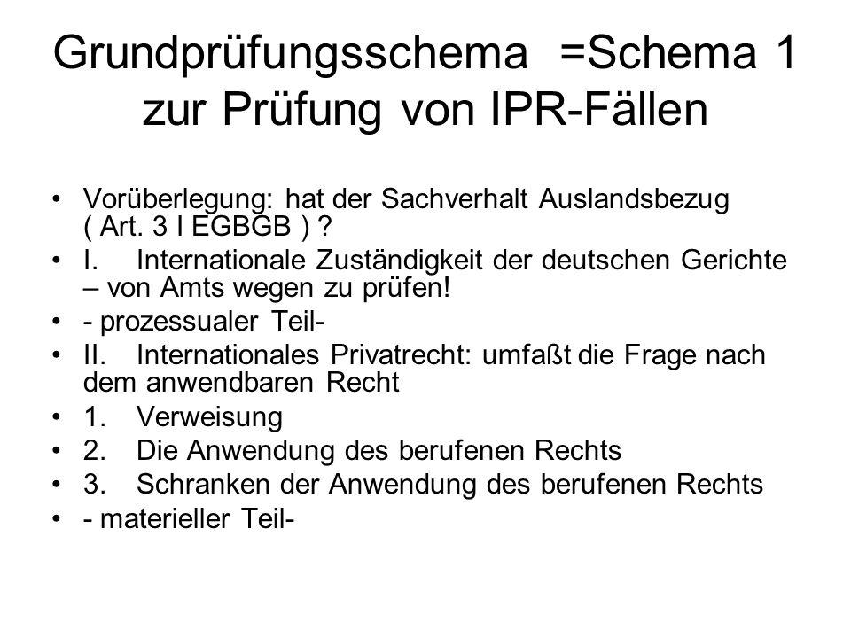 Grundprüfungsschema =Schema 1 zur Prüfung von IPR-Fällen Vorüberlegung: hat der Sachverhalt Auslandsbezug ( Art. 3 I EGBGB ) ? I.Internationale Zustän