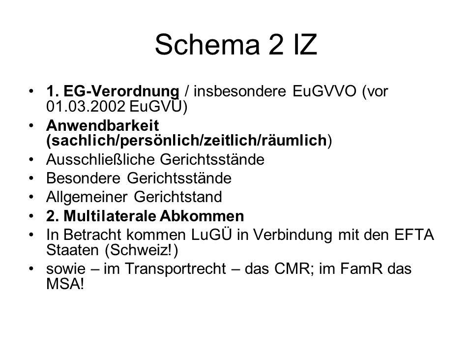 Schema 2 IZ 1. EG-Verordnung / insbesondere EuGVVO (vor 01.03.2002 EuGVÜ) Anwendbarkeit (sachlich/persönlich/zeitlich/räumlich) Ausschließliche Gerich