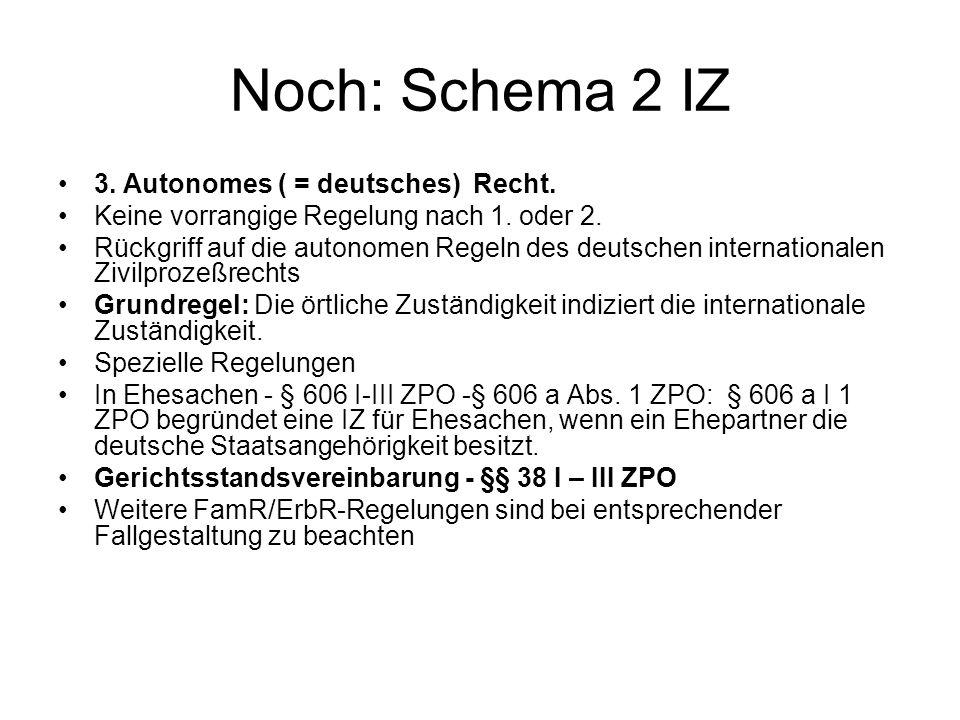 Noch: Schema 2 IZ 3. Autonomes ( = deutsches) Recht. Keine vorrangige Regelung nach 1. oder 2. Rückgriff auf die autonomen Regeln des deutschen intern
