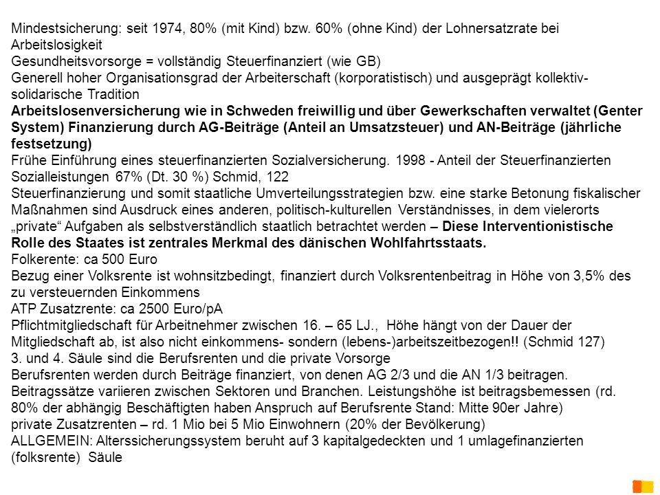 J. Petscharnig & G. Spiel staatliche Sozialeistungen: Mindestsicherung: seit 1974, 80% (mit Kind) bzw. 60% (ohne Kind) der Lohnersatzrate bei Arbeitsl