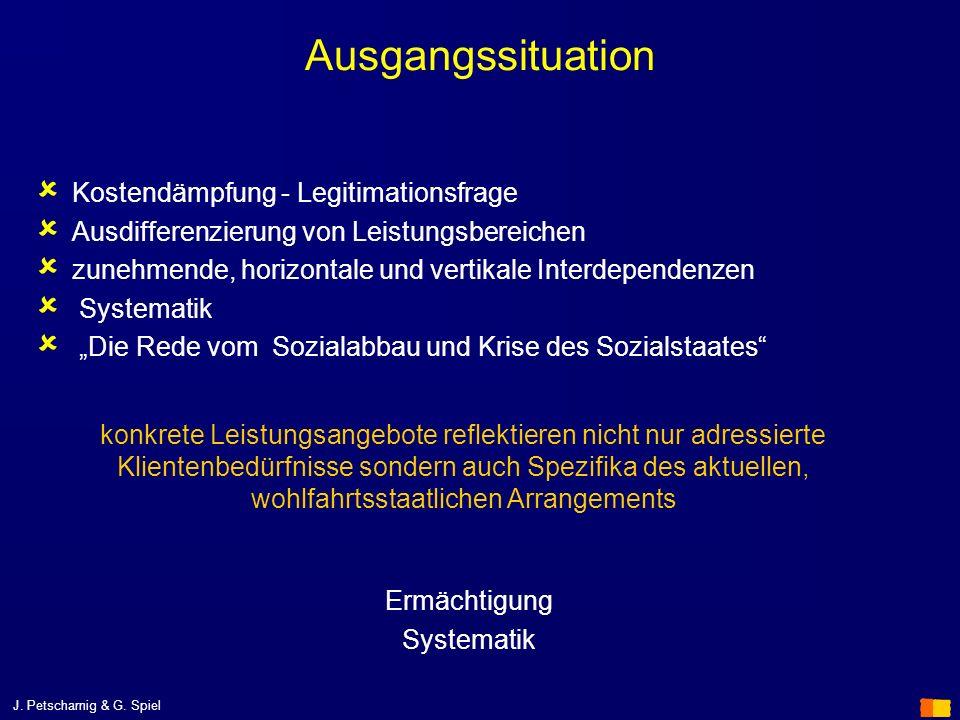 J. Petscharnig & G. Spiel Ausgangssituation Kostendämpfung - Legitimationsfrage Ausdifferenzierung von Leistungsbereichen zunehmende, horizontale und