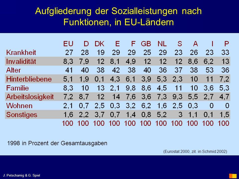 Aufgliederung der Sozialleistungen nach Funktionen, in EU-Ländern 1998 in Prozent der Gesamtausgaben (Eurostat 2000, zit. in Schmid 2002)