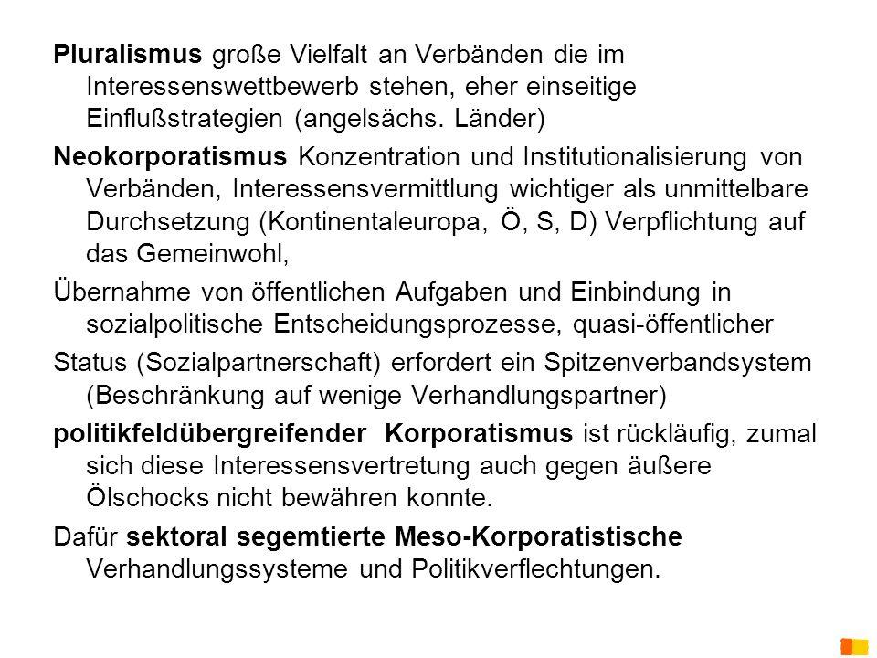 J. Petscharnig & G. Spiel Pluralismus große Vielfalt an Verbänden die im Interessenswettbewerb stehen, eher einseitige Einflußstrategien (angelsächs.