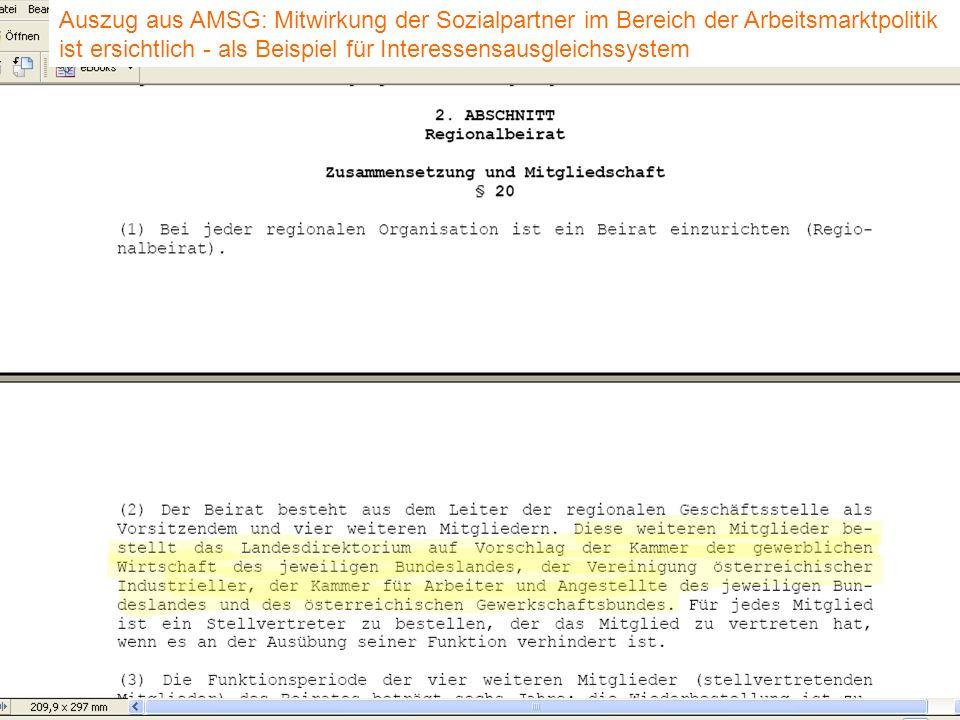 J. Petscharnig & G. Spiel Auszug aus AMSG: Mitwirkung der Sozialpartner im Bereich der Arbeitsmarktpolitik ist ersichtlich - als Beispiel für Interess