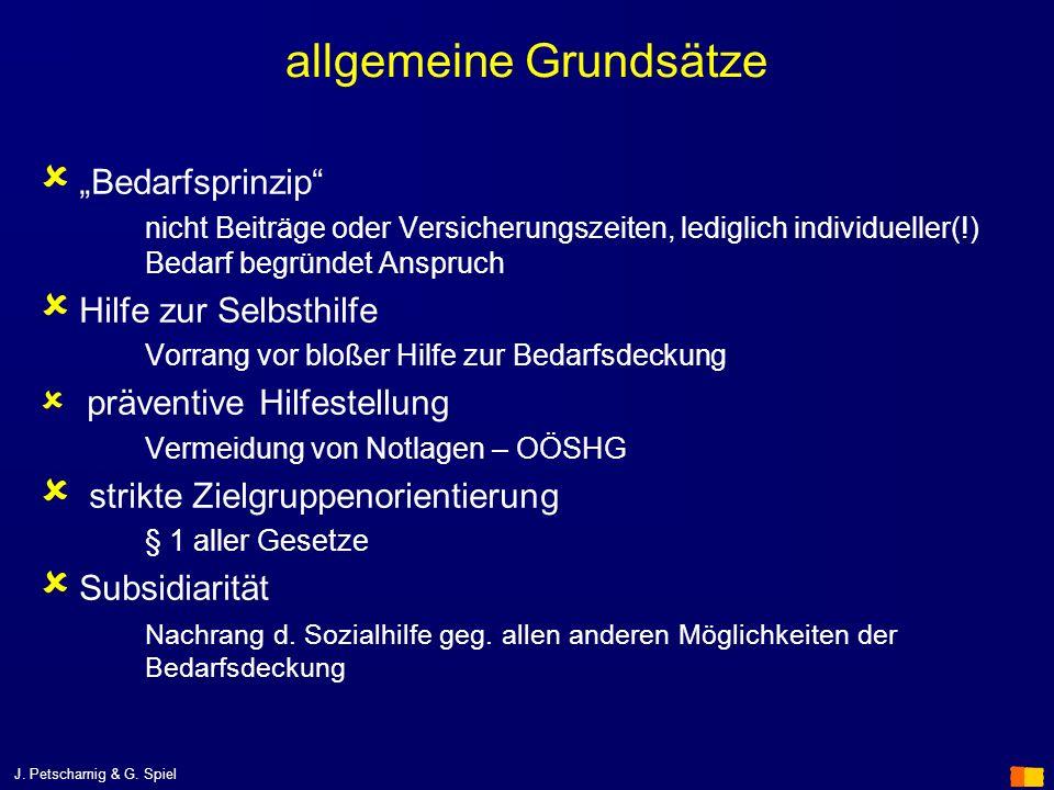 J. Petscharnig & G. Spiel allgemeine Grundsätze Bedarfsprinzip nicht Beiträge oder Versicherungszeiten, lediglich individueller(!) Bedarf begründet An