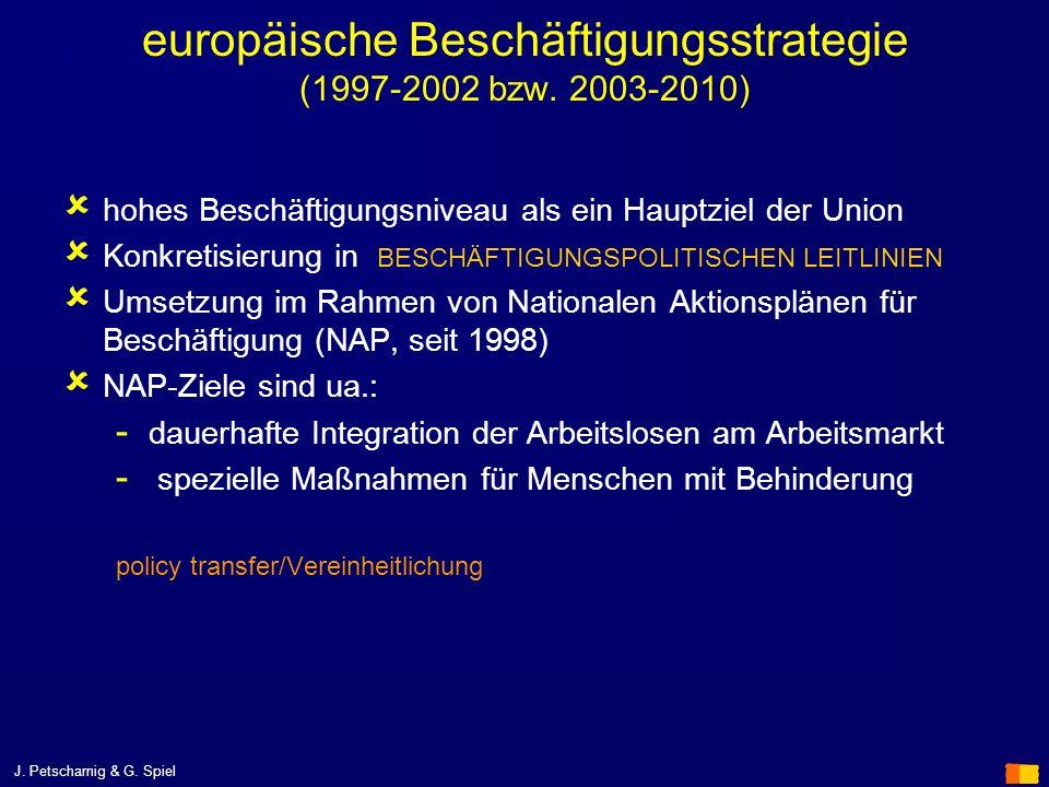J. Petscharnig & G. Spiel europäische Beschäftigungsstrategie (1997-2002 bzw. 2003-2010) hohes Beschäftigungsniveau als ein Hauptziel der Union Konkre