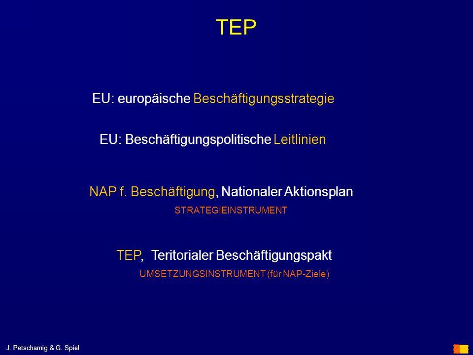 J. Petscharnig & G. Spiel TEP EU: Beschäftigungspolitische Leitlinien NAP f. Beschäftigung, Nationaler Aktionsplan STRATEGIEINSTRUMENT TEP, Teritorial