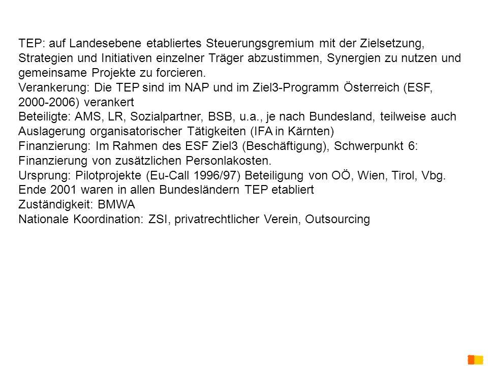 J. Petscharnig & G. Spiel TEP: auf Landesebene etabliertes Steuerungsgremium mit der Zielsetzung, Strategien und Initiativen einzelner Träger abzustim