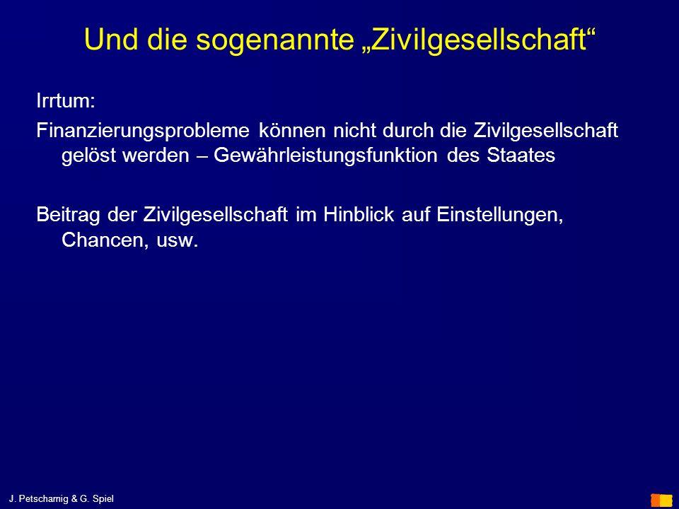 J. Petscharnig & G. Spiel Und die sogenannte Zivilgesellschaft Irrtum: Finanzierungsprobleme können nicht durch die Zivilgesellschaft gelöst werden –