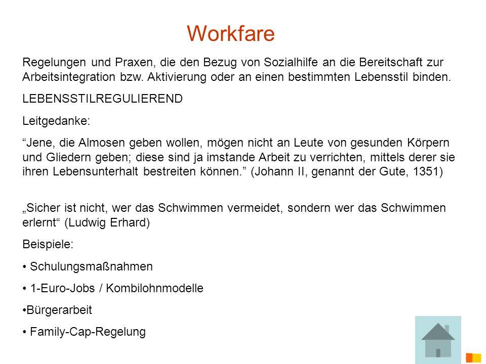 J. Petscharnig & G. Spiel Workfare Regelungen und Praxen, die den Bezug von Sozialhilfe an die Bereitschaft zur Arbeitsintegration bzw. Aktivierung od