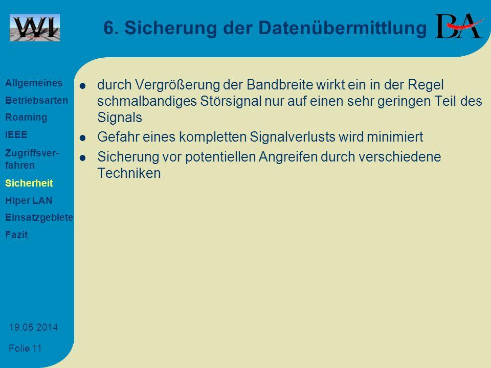 Folie 11 19.05.2014 6. Sicherung der Datenübermittlung durch Vergrößerung der Bandbreite wirkt ein in der Regel schmalbandiges Störsignal nur auf eine