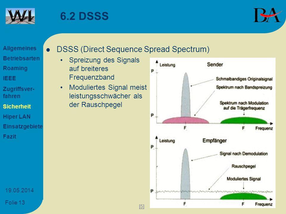 Folie 13 19.05.2014 6.2 DSSS DSSS (Direct Sequence Spread Spectrum) Spreizung des Signals auf breiteres Frequenzband Moduliertes Signal meist leistung