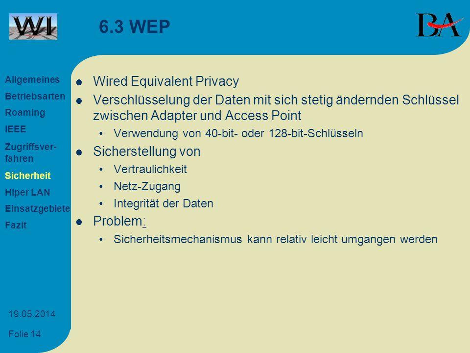 Folie 14 19.05.2014 6.3 WEP Wired Equivalent Privacy Verschlüsselung der Daten mit sich stetig ändernden Schlüssel zwischen Adapter und Access Point V
