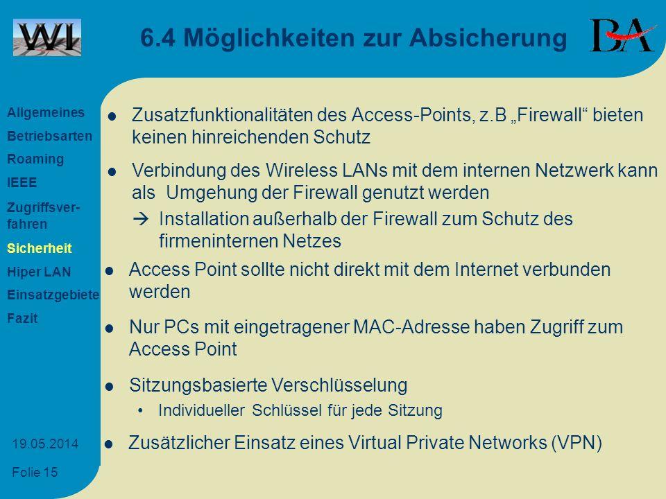 Folie 15 19.05.2014 6.4 Möglichkeiten zur Absicherung Zusatzfunktionalitäten des Access-Points, z.B Firewall bieten keinen hinreichenden Schutz Verbin